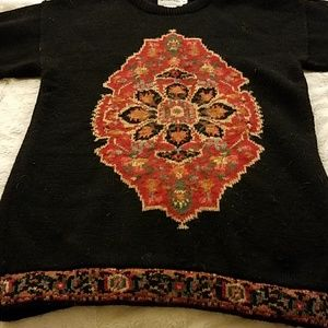 Vintage JH collectibles Black mosaic sweater